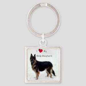 I heart my King Shepherd Square Keychain