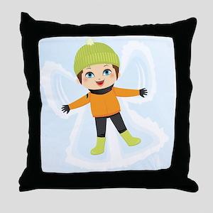 Snow Angel Boy Throw Pillow