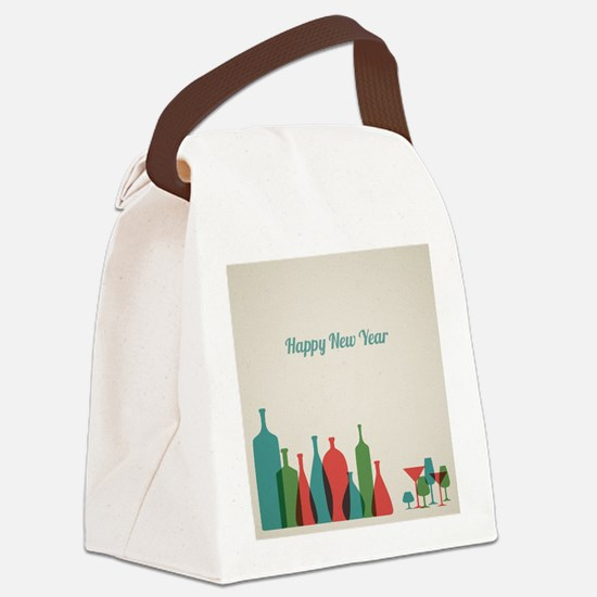 Retro New Year card with bottles  Canvas Lunch Bag