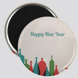Retro New Year card with bottles and glasse Magnet