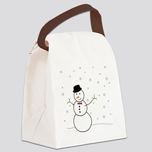 Snowman Illustration Canvas Lunch Bag