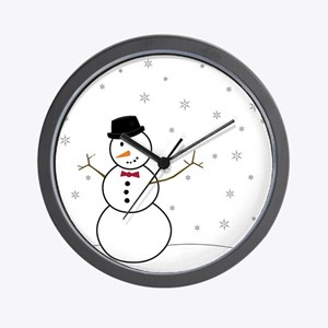 Snowman Illustration Wall Clock