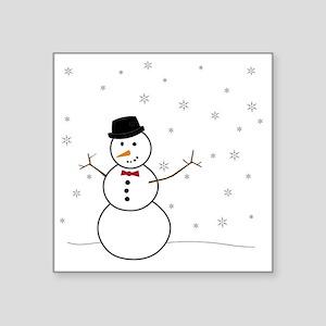 "Snowman Illustration Square Sticker 3"" x 3"""