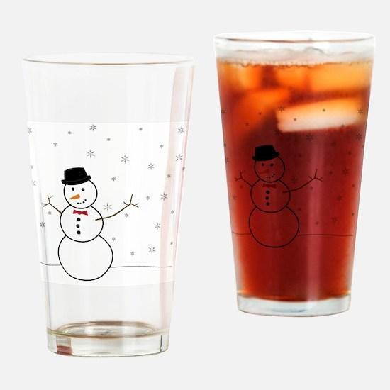 Snowman Illustration Drinking Glass