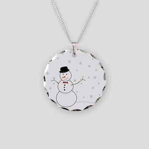 Snowman Illustration Necklace Circle Charm