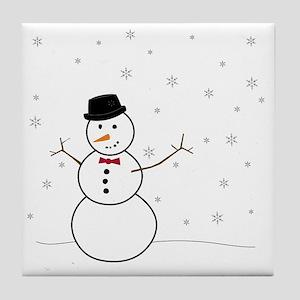 Snowman Illustration Tile Coaster