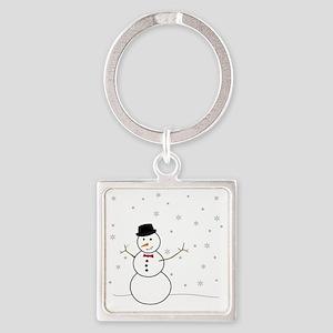 Snowman Illustration Square Keychain
