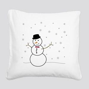 Snowman Illustration Square Canvas Pillow