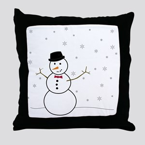 Snowman Illustration Throw Pillow
