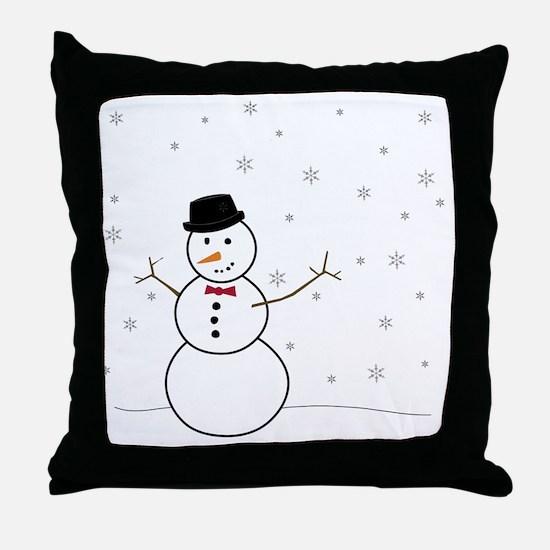 Snowman Illustration Throw Pillow