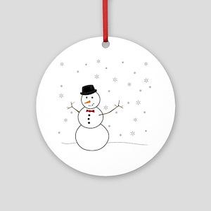 Snowman Illustration Round Ornament