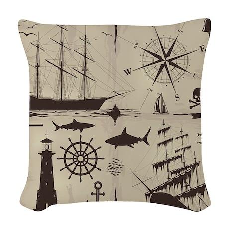 Set Of Nautical Design Element Woven Throw Pillow