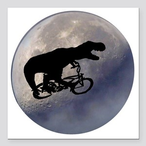 """T-Rex vintage moon Square Car Magnet 3"""" x 3"""""""