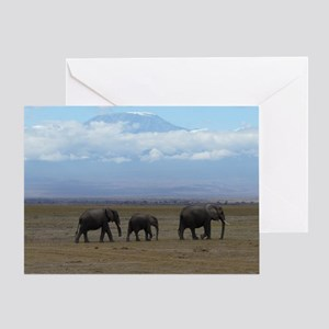 Elephants with Kilimanjaro Greeting Card