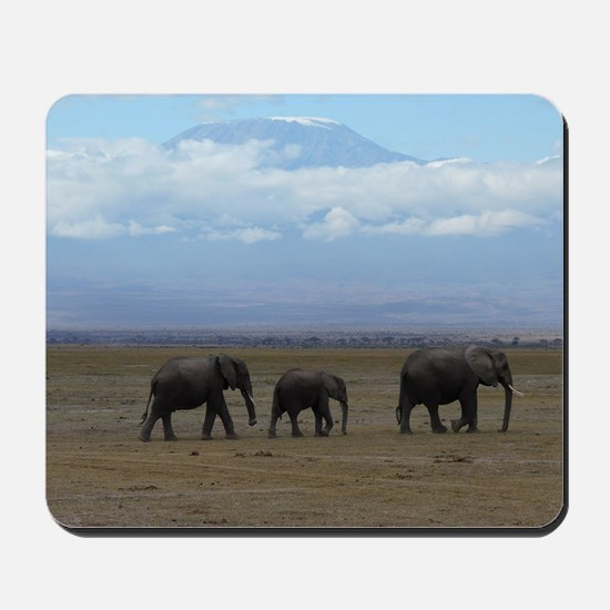 Elephants with Kilimanjaro Mousepad