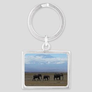 Elephants with Kilimanjaro Landscape Keychain