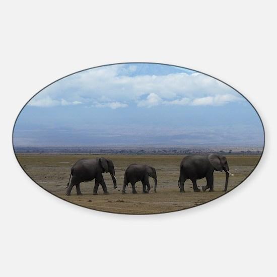 Elephants with Kilimanjaro Sticker (Oval)