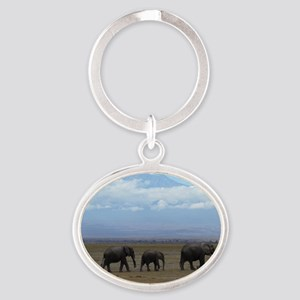 Elephants with Kilimanjaro Oval Keychain