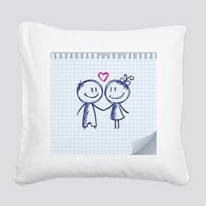 valentine's day illustration Square Canvas Pillow