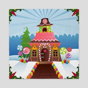Snowy Gingerbread House Queen Duvet