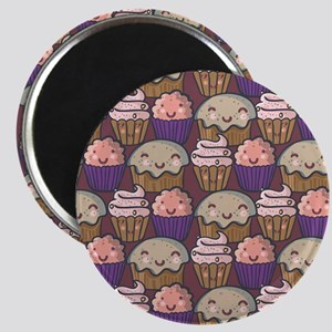 Tasty seamless pattern. Funny cartoon cakes Magnet
