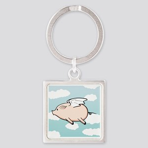 When Pigs Fly Vector Square Keychain
