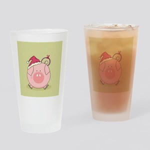 cute pig with santa hat Drinking Glass