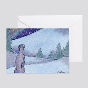 Greyhound whippet silent night Greeting Card