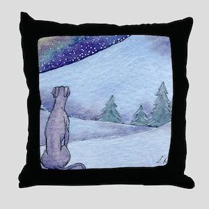 Greyhound whippet silent night Throw Pillow