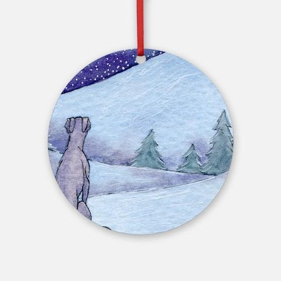 Greyhound whippet silent night Round Ornament