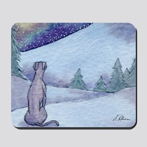Greyhound whippet silent night Mousepad