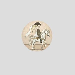 wedding couple on white horse Mini Button