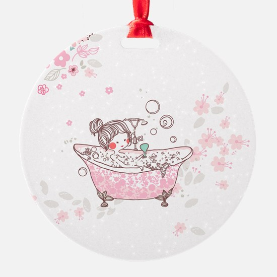 girl taking bath Ornament