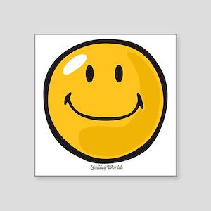 """smug smiley Square Sticker 3"""" x 3"""""""