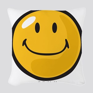 smug smiley Woven Throw Pillow
