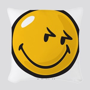 sneakiness smiley Woven Throw Pillow