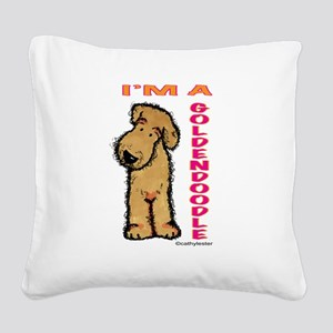GOLDENDOODLEpink Square Canvas Pillow