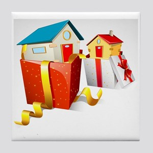 illustration of house in gift pack on Tile Coaster