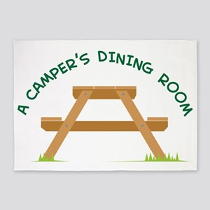 Campers Picnic Table 5'x7'Area Rug