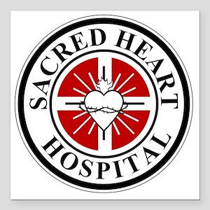 "sacred heart logo Square Car Magnet 3"" x 3"""