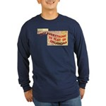 Flat Oklahoma Long Sleeve Dark T-Shirt