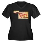 Flat Oklahoma Women's Plus Size V-Neck Dark T-Shir