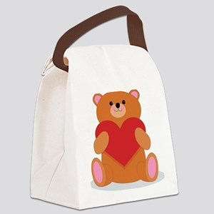 Teddy Heart Canvas Lunch Bag