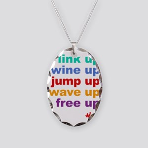 link UP wine UP jump UP wave U Necklace Oval Charm