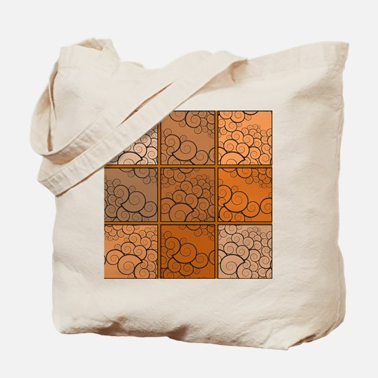 Patchwork Swirls orange Tote Bag