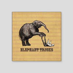 "Vintage circus elephant doi Square Sticker 3"" x 3"""