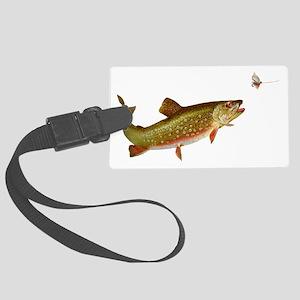 Vintage trout fishing illustrati Large Luggage Tag