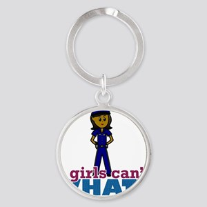 Woman Police Officer Round Keychain