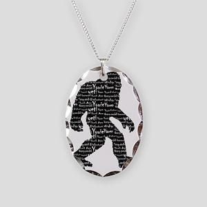 Bigfoot Sasquatch Yowie Yeti Y Necklace Oval Charm