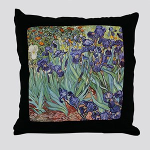 Irises by Van Gogh impressionist pain Throw Pillow